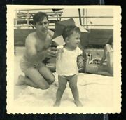 Vintage Photo Dad Steadies Young Son In The Sand At The Beach 1940's