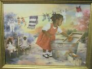 G.rose Washday African American Girl Playing Giclee On Canvas Painting