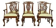 L32741ec Set Of 6 Baker Chippendale Mahogany Clawfoot Dining Room Chairs