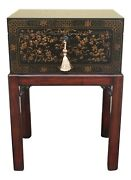 L51735theodore Alexander 1102-157 Chinoiserie Decorated Fliptop Box Stand New