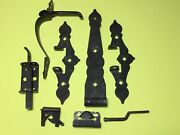 Vintage Colonial Strap Gate Fence Hinges Handle Wrought Iron Black-lot