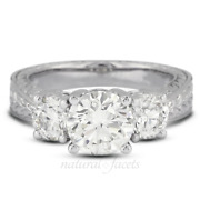 1.20ct D Vs2 Round Natural Diamonds White Gold Vintage Style 3-stone Ring