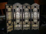 Antique Chinese Hand Made Signed Carved Scholars Table Screen 4 Panell 20 Tall
