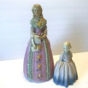 2 Vintage Coventry Ware Chalkware Victorian Girl Figurines