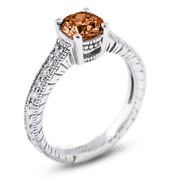 0.88ct Red Si1 Round Natural Diamonds Plat Vintage Style Engagement Ring