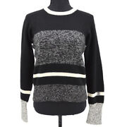 96a 42 Cc Logos Long Sleeve Knit Tops Black Cashmere Authentic 60220