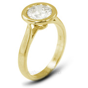 0.52ct H Si1 Round Natural Diamond Yellow Gold Halo Solitaire Engagement Ring