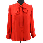 38 Cc Logos Bow Charm Long Sleeve Tops Shirt Red Silk Authentic 60222