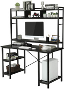 Used Gaming Desk Computer Desk Study Table + Hutch Cpu Stand And Adjustable Shelf