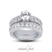 1.29ct G/si2 Round Natural Diamonds 14k Vintage Style Ring With Wedding Band