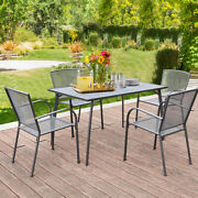 5-piece Metal Patio Dining Set W/ Large Table 4 Chairs Outdoor Furniture Grey