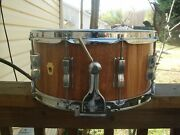 Vintage Wfl Parts/ Hand Crafted Mahogany Stave 6.5x14 Shell