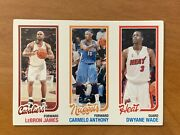 2007-08 Topps Rip Card Lebron Jamescarmelo Anthonydwyane Wade Unripped 68/99