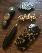 Vintage Lot 5 Hair Clip Barrettes Made In France 1 Kirks Follly Mixed Materials
