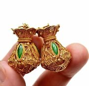 Chinese 14k Gold Filigree Jade Jadeite Carved Bag Pouch Basket Shaped Earrings