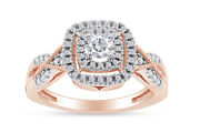 0.50 Ctw Round Diamond Frame Vintage Style Engagement Ring 10k Solid Rose Gold