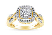 0.50 Ctw Round Diamond Frame Vintage Style Engagement Ring 10k Solid Yellow Gold