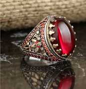Solid Sterling 925 Silver Handcraft Mens Jewelry Cabochon Red Ruby Menand039s Ring