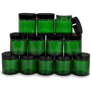 12 Pack 4oz Cosmetic Glass Jar Cream Makeup Lotion Empty Containers Jars Green