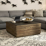 39 W Coffee Table Textured Inset Stone Top Hand Crafted Natural Woods Modern