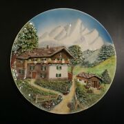 Plate Dish Earthenware Slip Home Cottage Mountain Swiss Made Hand N5023