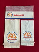 1960and039s Mcdonaldand039sun-used Employee Paper Hat And 2 Paper Bags Slash Logo
