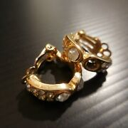 Rings Ear Gold Plated Sapphire White Jewel Jaw Round Nose Art Deco Woman N4509