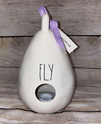 Rae Dunn Fly White Teardrop Birdhouse 2 Sided With Purple Ribbon Home Accent New