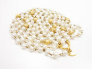 Long Necklace Gold Plated White Costume Pearl Beaded Vintage Authentic