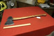 Vintage Unmarked Hewing Axe Antique Cutting Logging Tool Farm Log Cutter Old