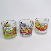 Garfield Mcdonalds Collectible 1978 Glasses Lot Of 3