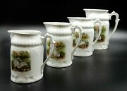 Antique Set Of 4 Ceramic Porcelain Pitchers Of 4 Different Sizes With Swan Art
