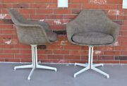 Pair Fabric Upholstery Cushioned Eames Shell Arm Style Mid Century Modern Chairs