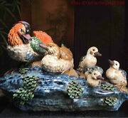 22and039and039 China Culture Pottery Wucai Porcelain Quacker-quacker Duck Animal Statue