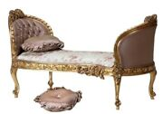 New French Louis Xvi Gold Leaf Chaise. Made To Order