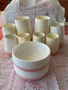 Vintage Bopp Decker Plastic Pink/white Vacron Lot Of 10 Bowls And Tumblers