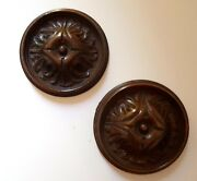 2 Antique French Carving Decorative Rosette Furniture Restoration Wood Project