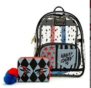 New Loungefly Harley Quinn Clear Backpack W/ Wallet Set Bundle Birds Of Prey Dc