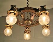 Virden Wolf Chandelier Craftsman Style Tudor Copper And Gold Finishes Restored