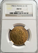 1786 Aa France 2 Louis D'or Ngc Au-53 Gold Rare Coin