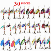 30 Pcs Fishing Lures Metal Spinner Baits Bass Tackle Crankbait Trout Spoon Trout
