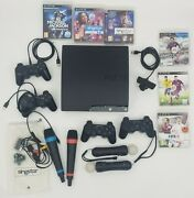 Used Ps3 Console, Singstar Mics, Motion Controller, Extra Controllers, Games Lot