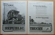 1919 Two Page Magazine Ad For Republic Trucks - Yellow Chassis In 5 Continents