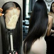 Brazilian Straight Long Glueless Lace Front Human Hair Wigs Pre Plucked Wig Remy