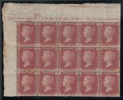 Sg 43 Great Britain 1864-79. One Penny Red Plate 149 Block Of 18 From The Top