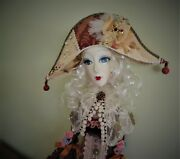 Art Boudoir Doll In Vintage Silk Dress Unique Interior Design Fashion 50and039and039