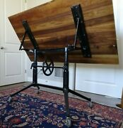 Antique Vintage Industrial Cranking Cast Iron Drafting Table Base Office Desk