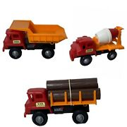 Vintage Plastic Kab Trucking Co Toys Made In Japan Various Types Trucks Lot Of 3