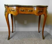 Antique French Ladies Writing Desk Table Leather Top Gilt Metal Mounts