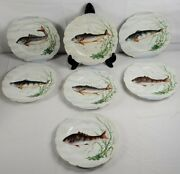 Antique Made In France Hand Painted Dandc Porcelain Fish Limoge Plates Lot Of 7